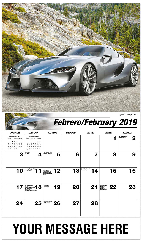 2019  Spanish-English Advertising Calendar - Toyota Concept FT-1 - February