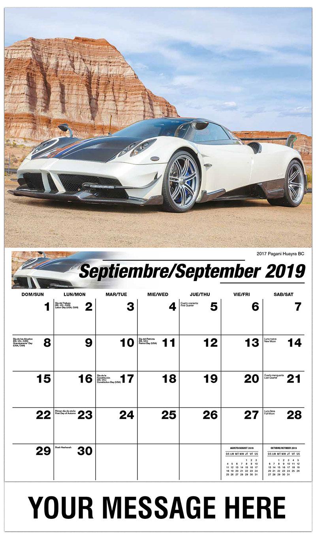 2019  Spanish-English Promo Calendar - 2017 Pagani Huayra BC - September