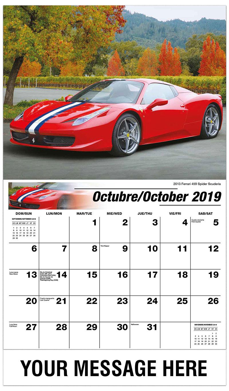 2019  Spanish-English Promo Calendar - 2013 Ferrari 459 Spider Scuderia - October