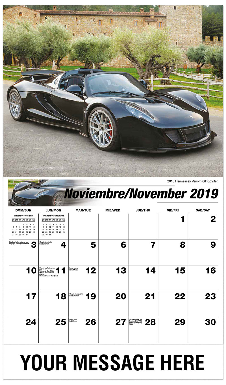 2019  Spanish-English Promo Calendar - 2013 Hennessey Venom GT Spyder - November