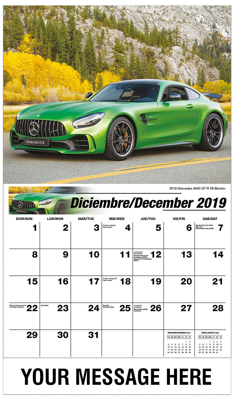 2019  Spanish-English Promo Calendar - 2018 Mercedes Amg GT R V8 Biturbo - December_2019