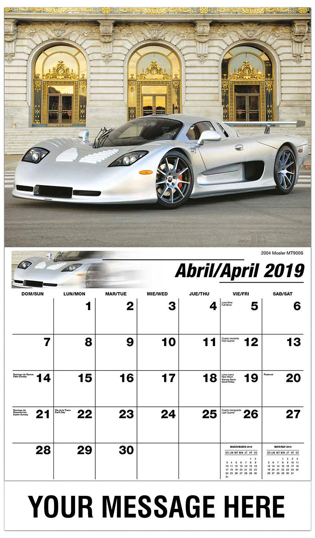2019  Spanish-English Promotional Calendar - 2004 Mosler MT900S - April