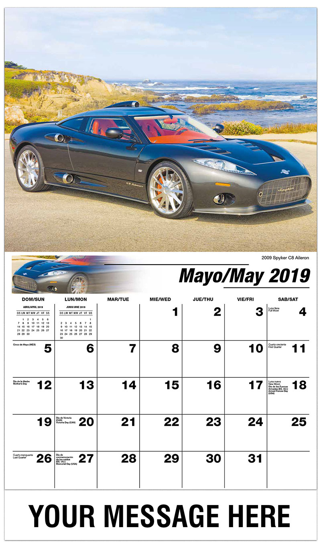 2019  Spanish-English Promotional Calendar - 2009 Spyker C8 Aileron - May