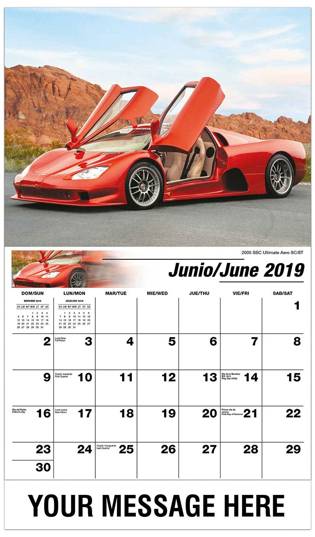2019  Spanish-English Promotional Calendar - 2005 SSC Ultimate Aero SC/8T - June