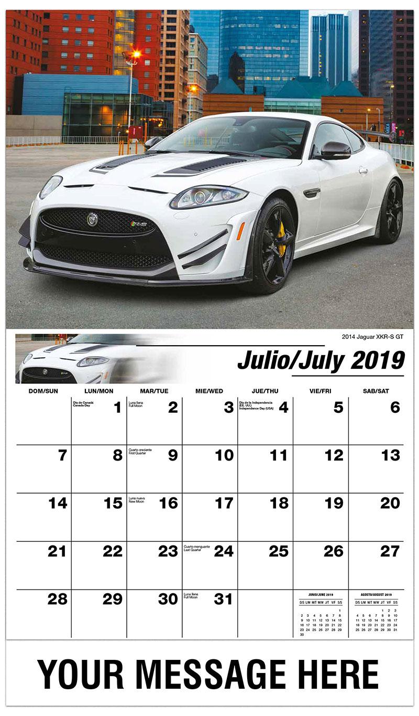 2019  Spanish-English Promotional Calendar - 2014 Jaguar XKR-S GT - July