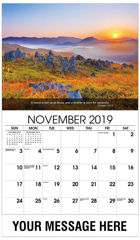 2019 Advertising Calendar - Autumn Colors - November