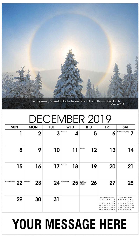 2019 Advertising Calendar - Christmas Tree In Winter - December_2019