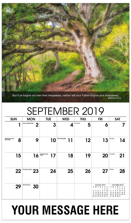 2019 Business Advertising Calendar - Tree In Forest - September