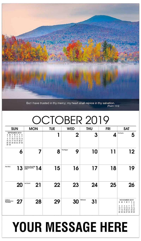 2019 Business Advertising Calendar - Lake In Fall - October