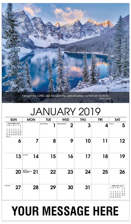2019 Promo Calendar - Lake And Mountain - January