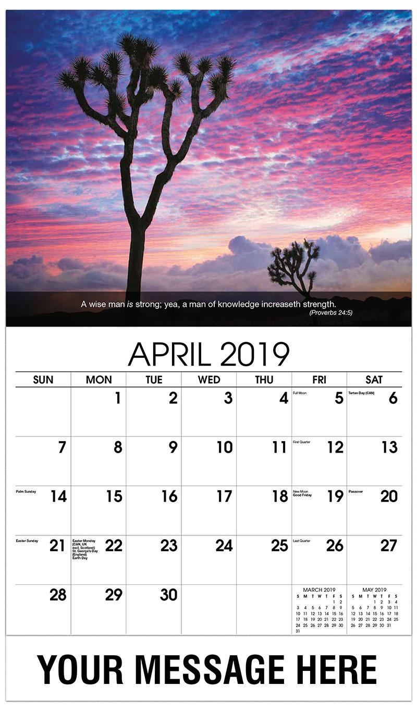 2019 Promotional Calendar - Joshua Tree At Sunset - April