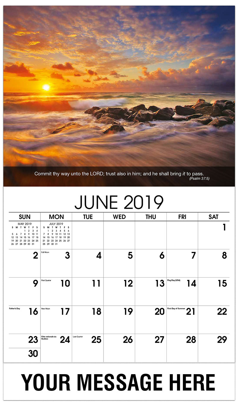 2019 Promotional Calendar - Waves On Beach At Sunset - June
