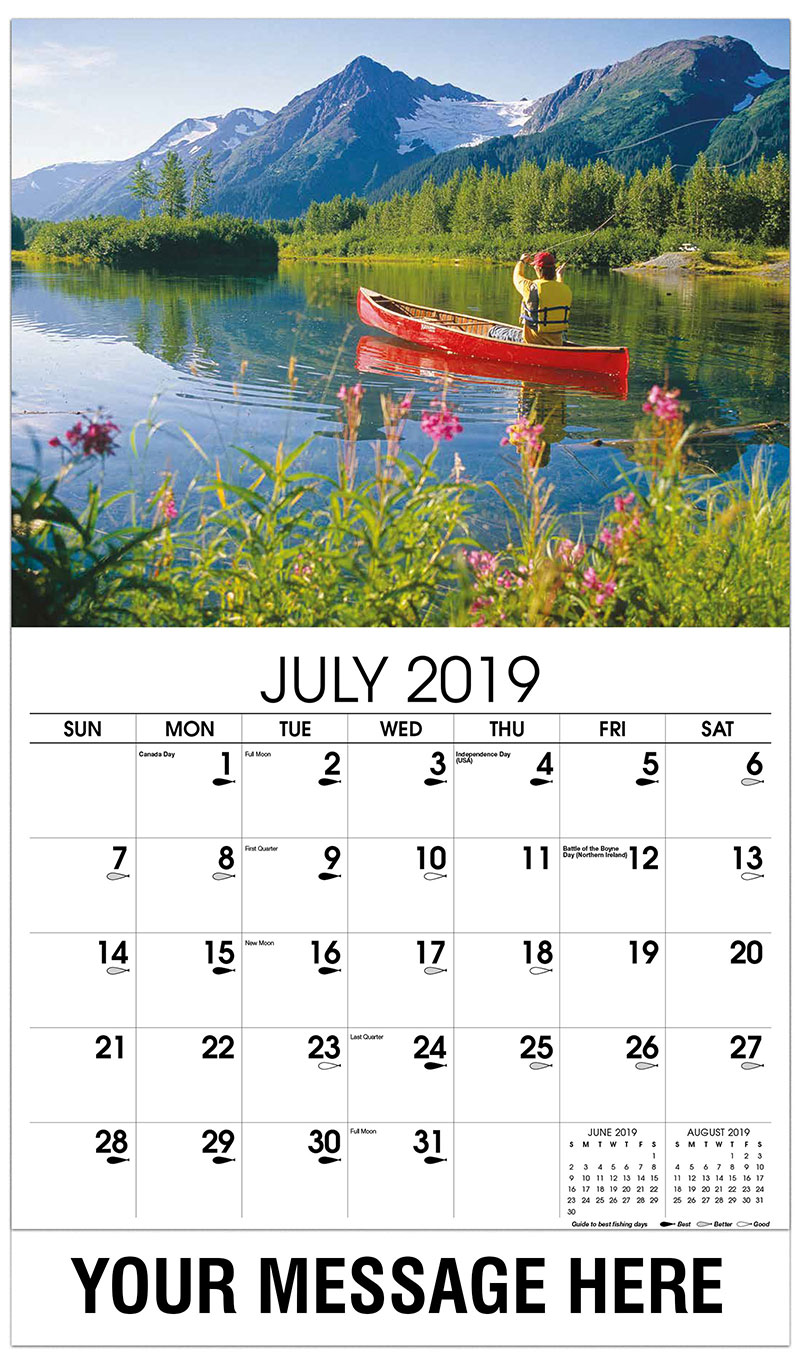 2019 Business Advertising Calendar - Fisherman in Canoe - July