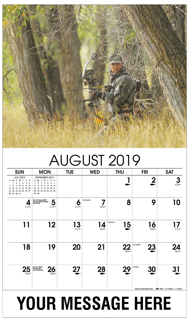 2019 Business Advertising Calendar - Bow Hunter in Woods - August