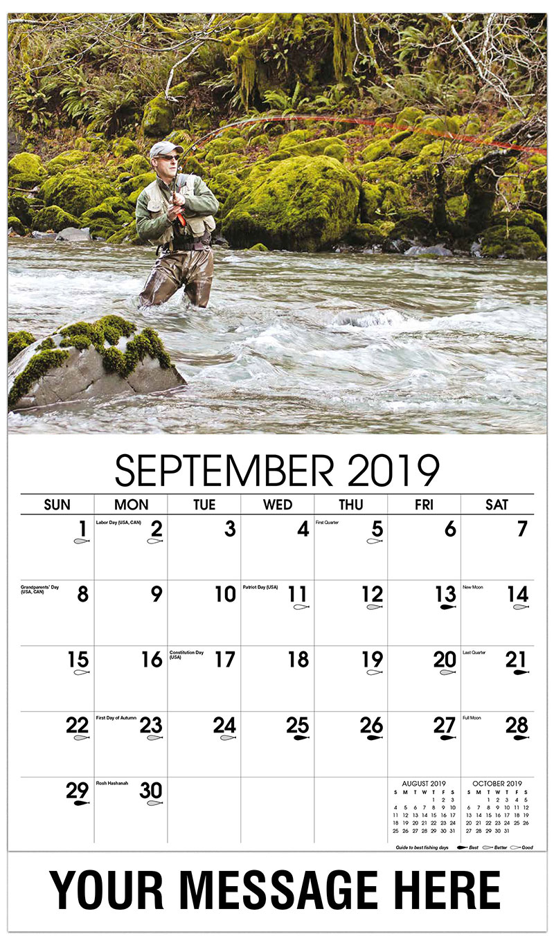 2019 Business Advertising Calendar - Fly Fisherman in River - September