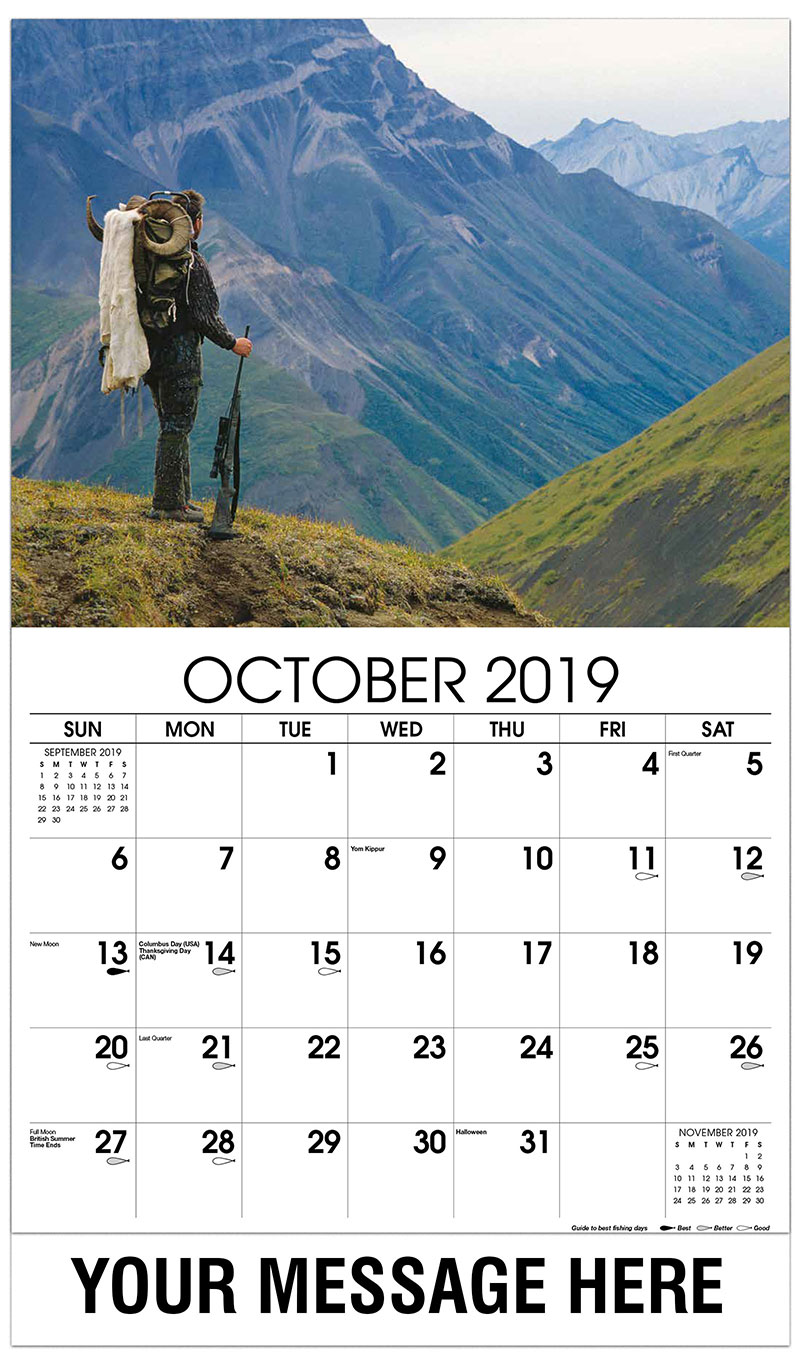 2019 Business Advertising Calendar - Hunter with Sheep Horns - October