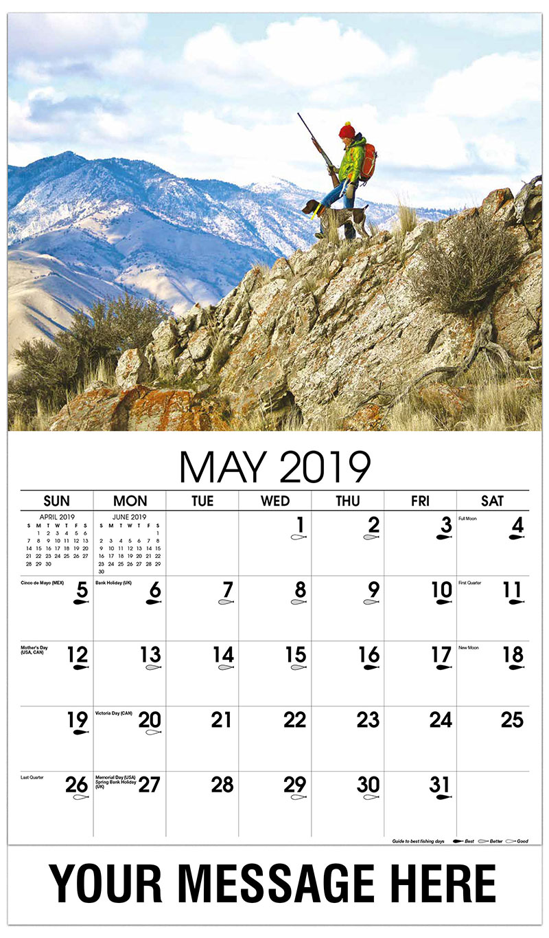 2019 Promo Calendar - Hunter with Dog on Mountain - May