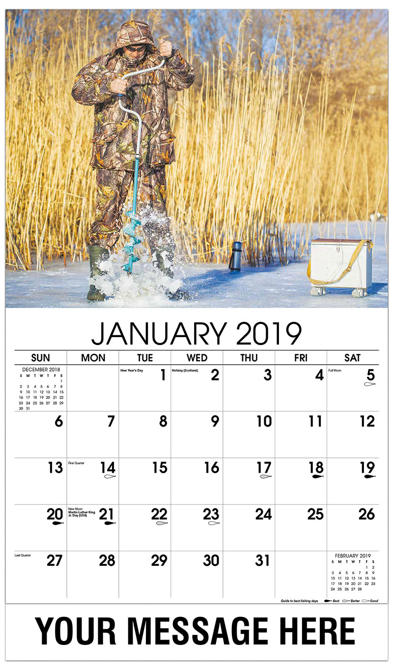 2019 Promotional Calendar - Man Drilling Ice Fishing Hold - January