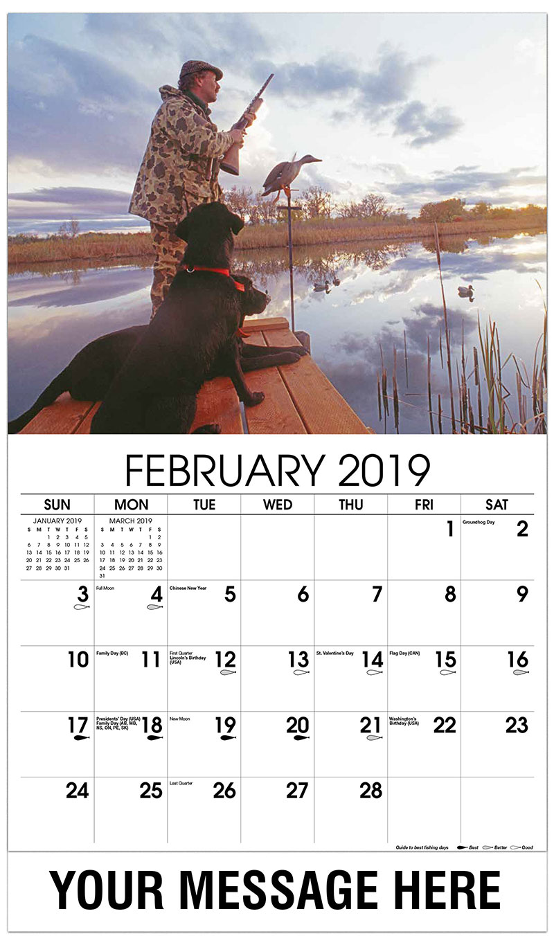 2019 Promotional Calendar - Duck Hunter with Dog - February