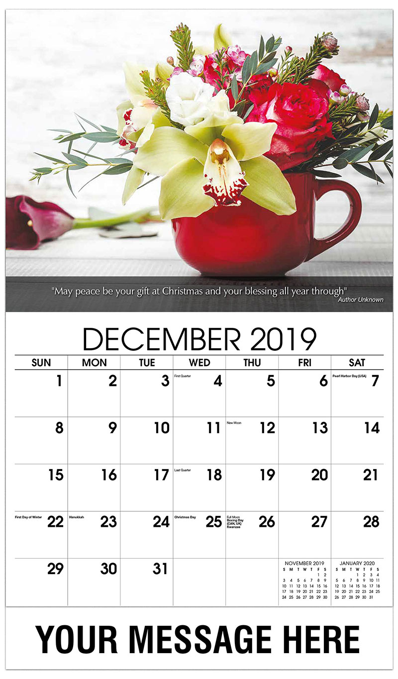 2019 Advertising Calendar - Flowers In Red Cup - December_2019