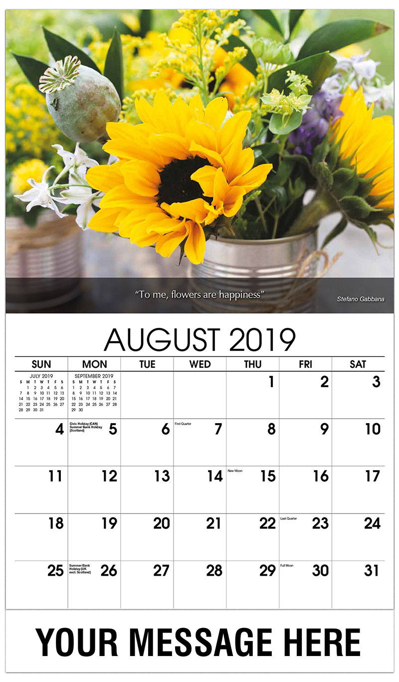2019 Business Advertising Calendar - Flowers In Tin Cup - August
