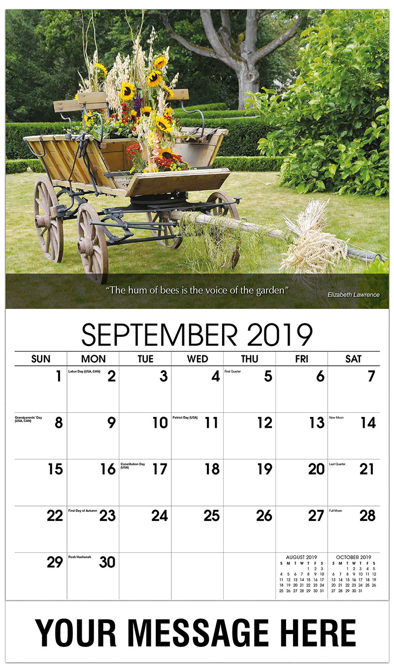 2019 Business Advertising Calendar - Flowers In Wagon - September
