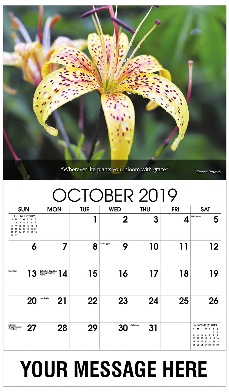 2019 Business Advertising Calendar - Yellow Lilly - October