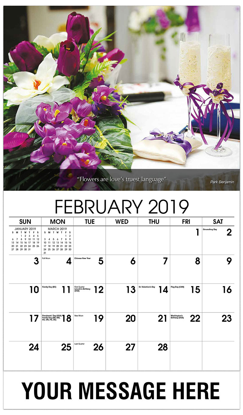 2019 Promo Calendar - Purple Flowers With Champagne - February