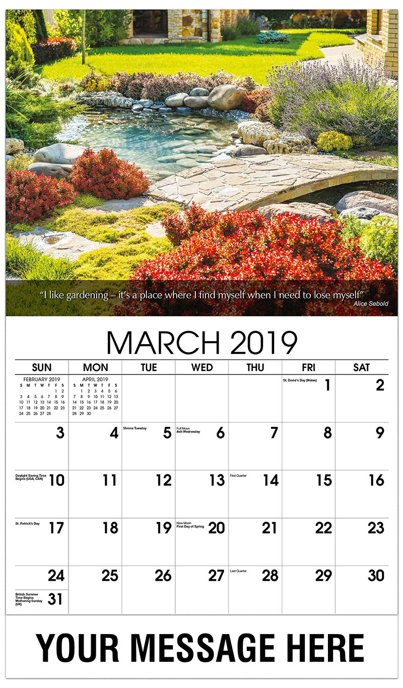 2019 Promotional Calendar - Flowers Around Pond - March