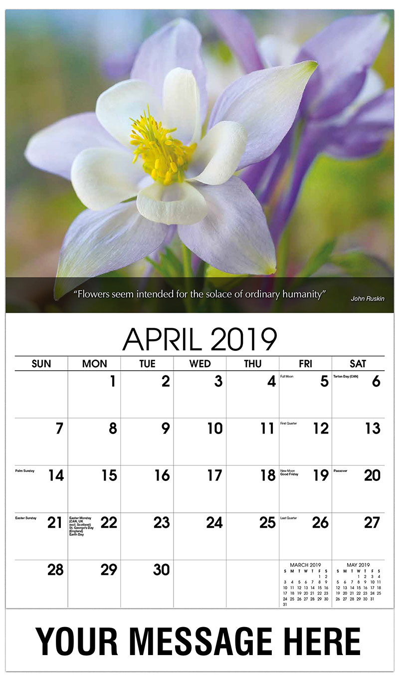 2019 Promotional Calendar - Purple And White Flower - April