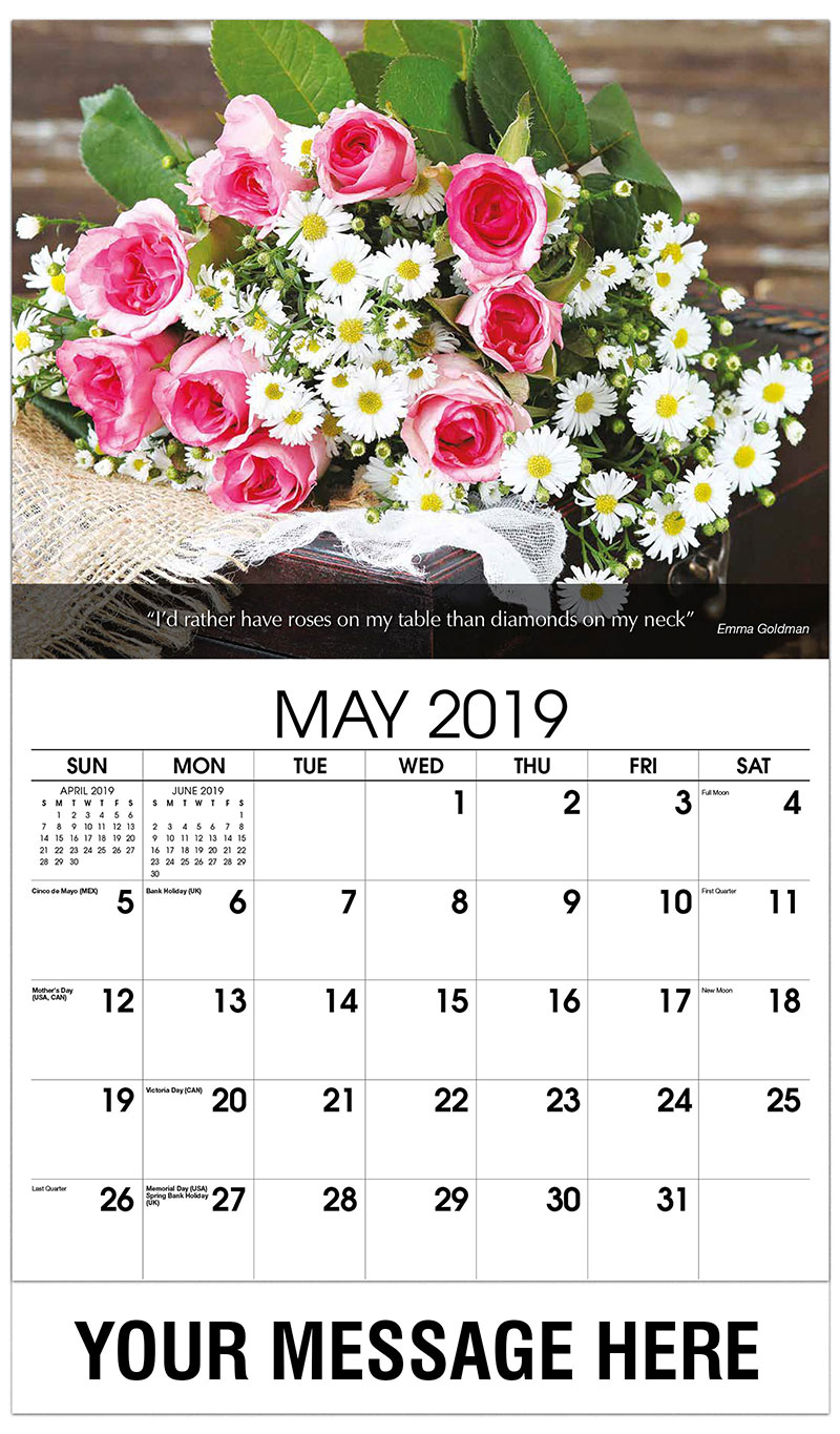 2019 Promotional Calendar - Basket Of Roses - May