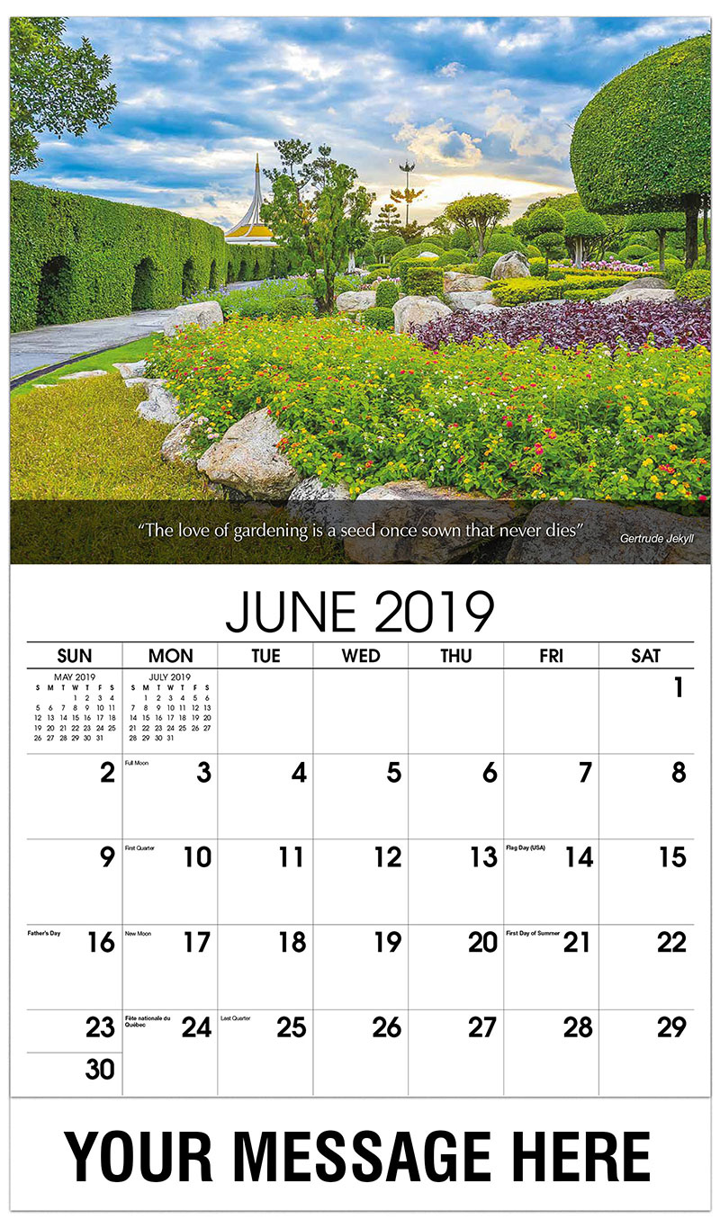 2019 Promotional Calendar - Garden With Hedge - June