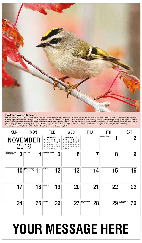 2019 Advertising Calendar - Golden-Crowned Kinglet - November