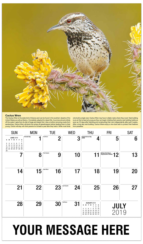 2019 Business Advertising Calendar - Cactus Wren - July