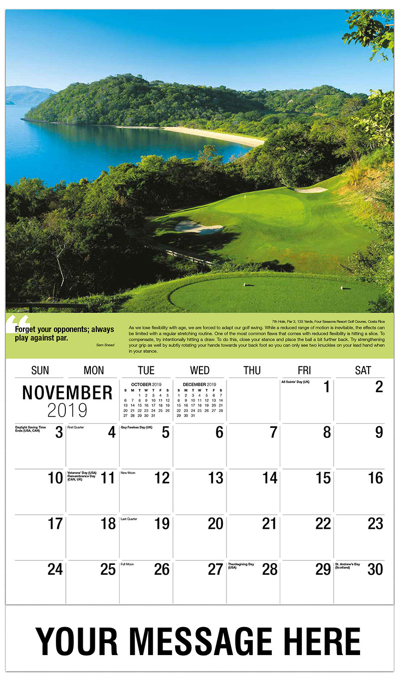 2019 Advertising Calendar - 7th Hole, Par 3, 133 Yards, Four Seasons Resort Golf Course, Costa Rica : 7th Hole, Par 3, 133 Yards, Four Seasons Resort Golf Course, Costa Rica - November