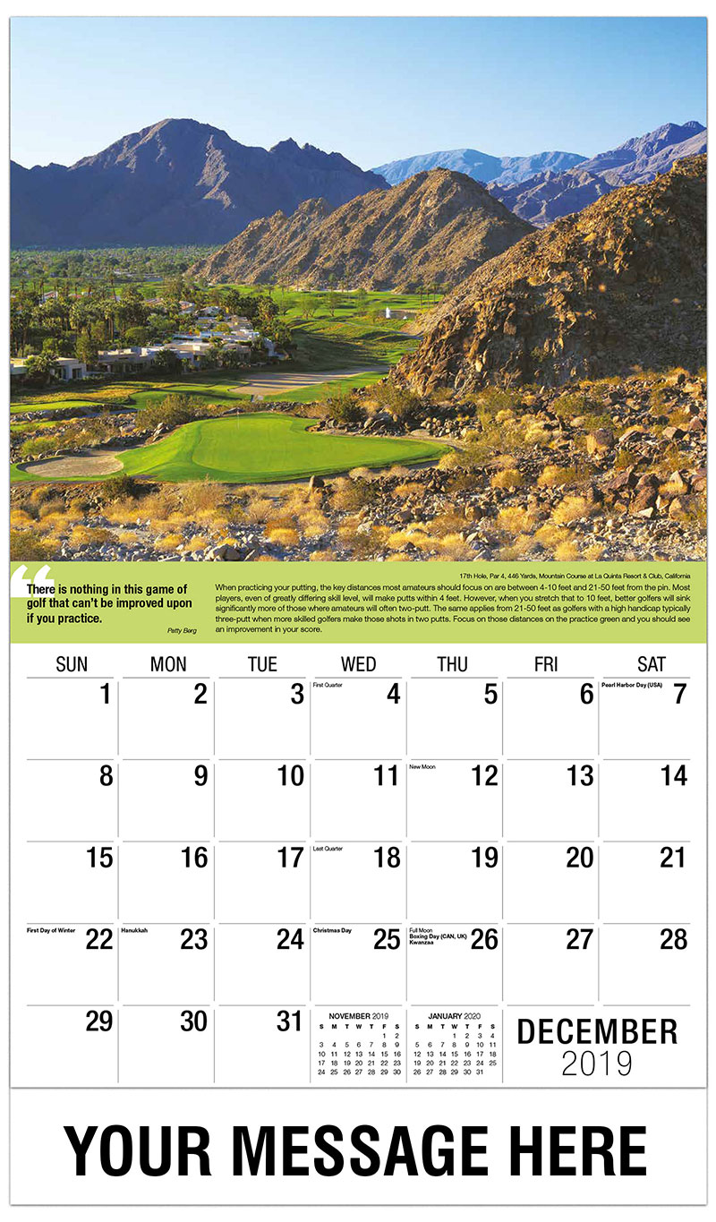2019 Advertising Calendar - 17th Hole, Par 4, 446 Yards, Mountain Course at La Quinta Resort & Club, California : 17th Hole, Par 4, 446 Yards, Mountain Course at La Quinta Resort & Club, California - December_2019