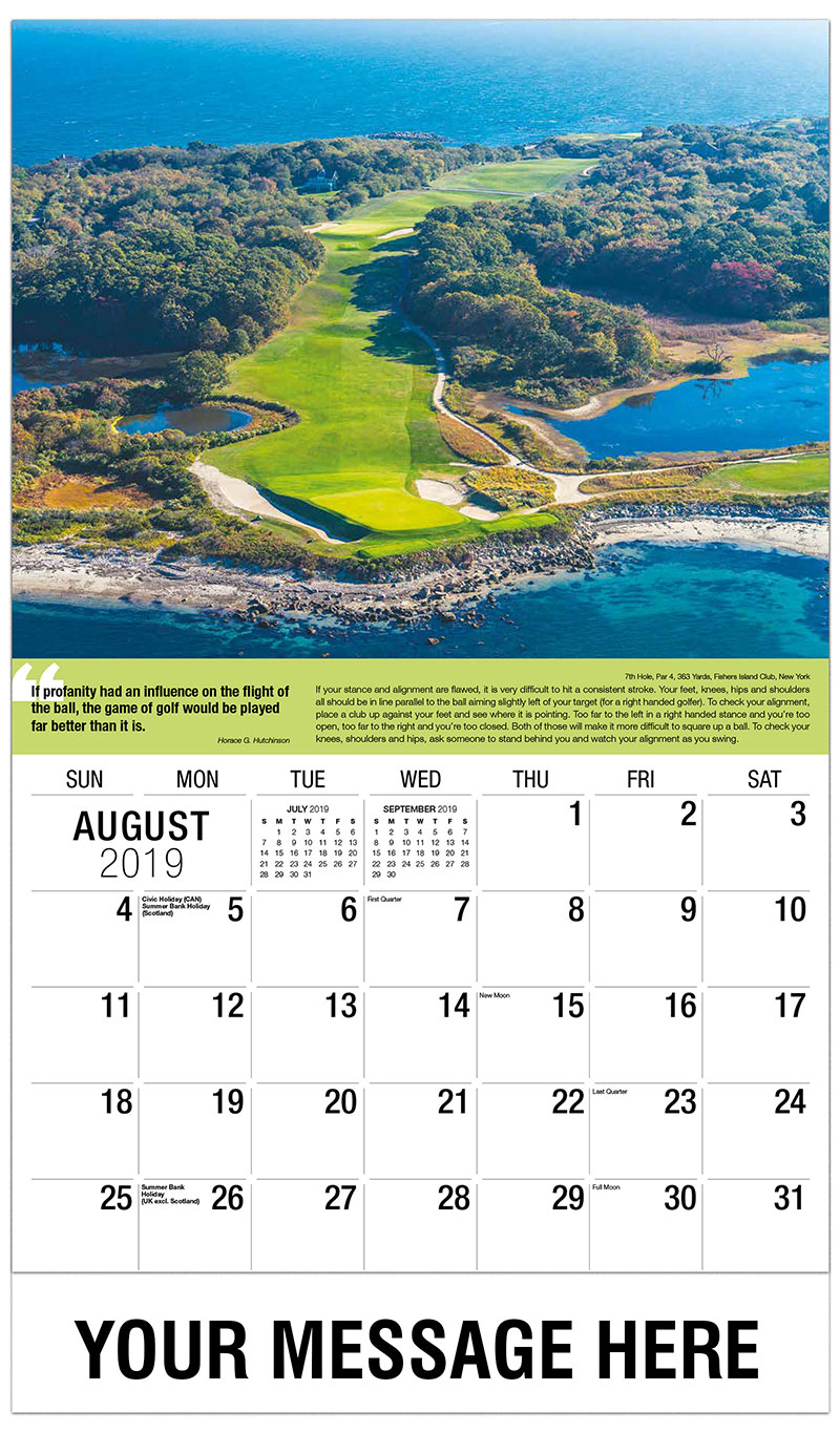 2019 Business Advertising Calendar - 7th Hole, Par 4, 363 Yards, Fishers Island Club, New York : 7th Hole, Par 4, 363 Yards, Fishers Island Club, New York - August
