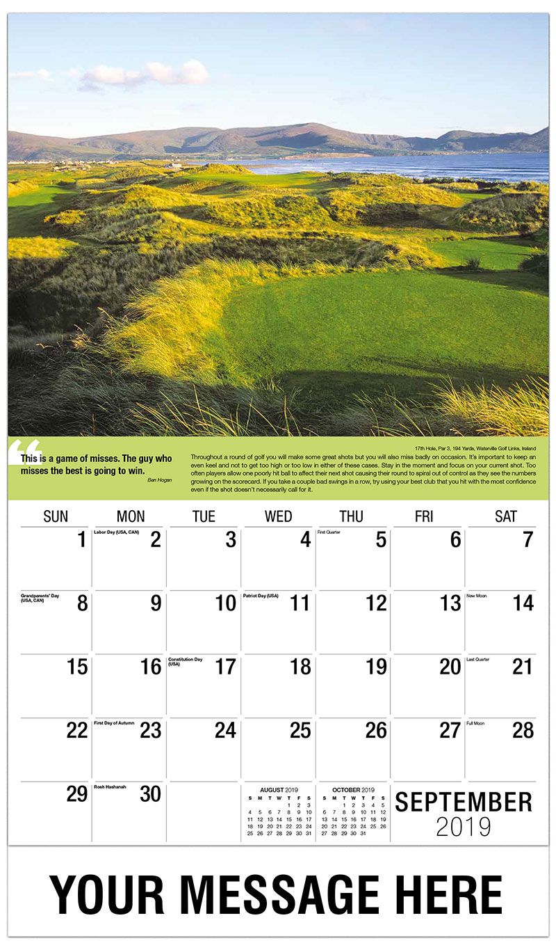 2019 Business Advertising Calendar - 17th Hole, Par 3, 194 Yards, Waterville Golf Links, Ireland : 17th Hole, Par 3, 194 Yards, Waterville Golf Links, Ireland - September