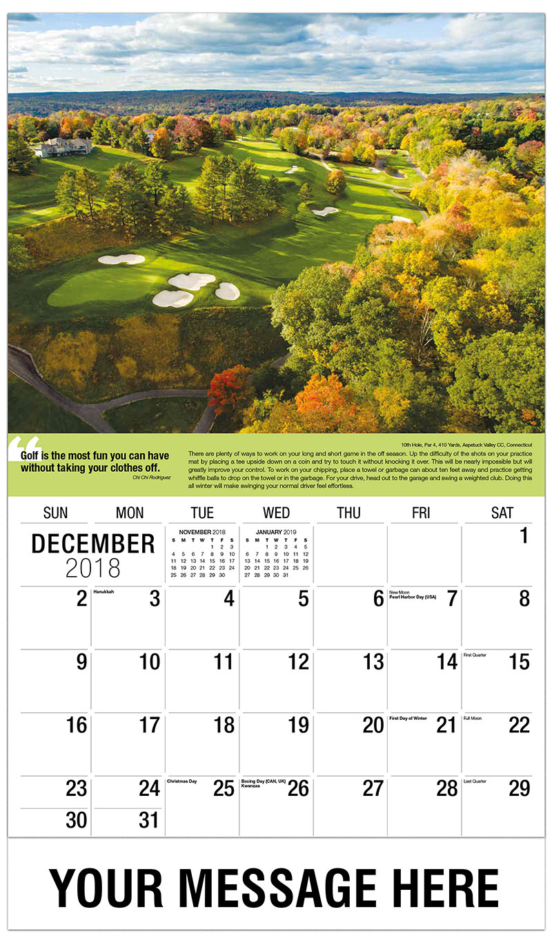 2019 Promo Calendar - 10th Hole, Par 4, 410 Yards, Aspetuck Valley CC, Connecticut : 10th Hole, Par 4, 410 Yards, Aspetuck Valley CC, Connecticut - December_2018