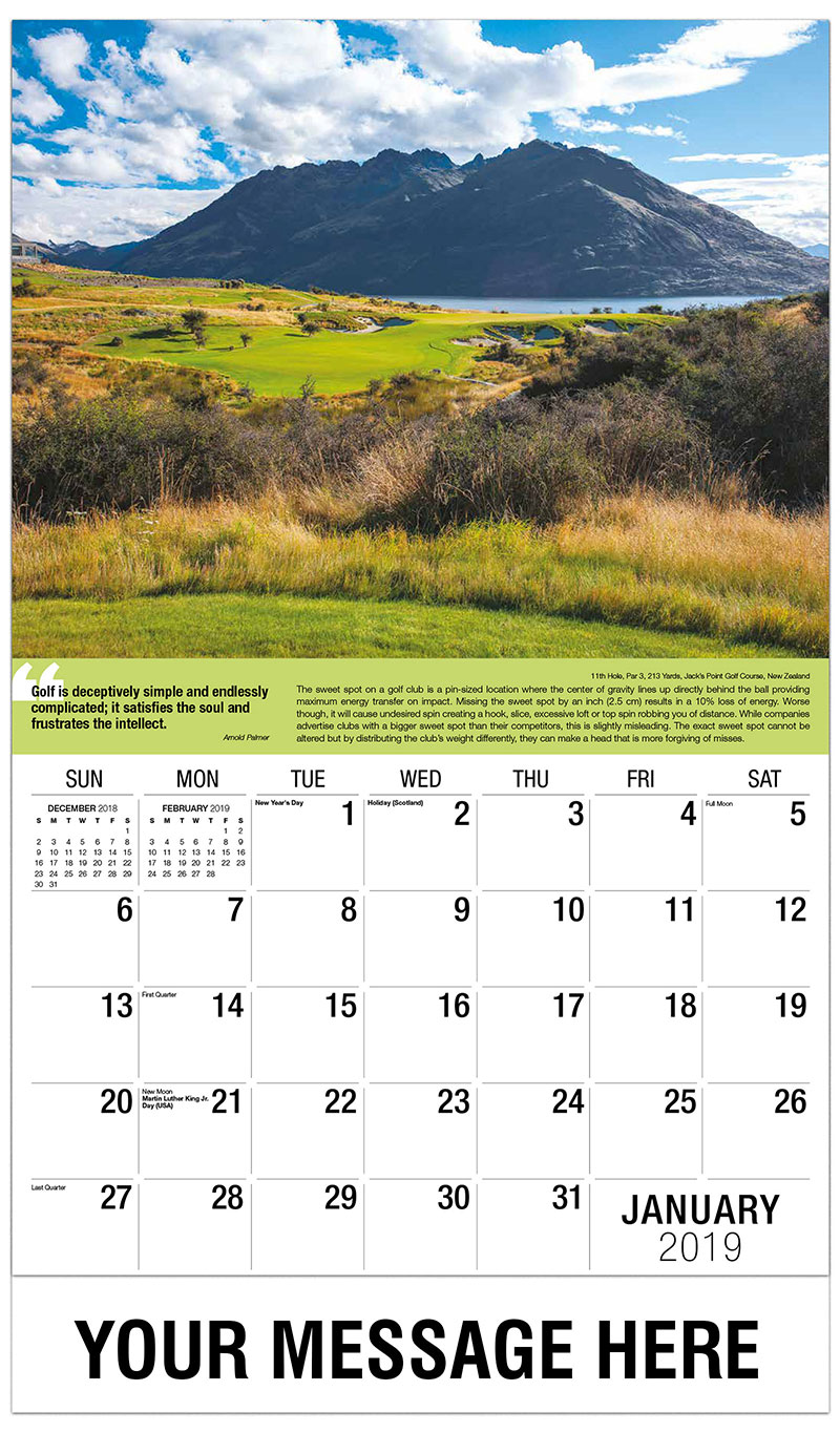 2019 Promo Calendar - 11th Hole, Par 3, 213 Yards, Jack's Point Golf Course, New Zealand : 11th Hole, Par 3, 213 Yards, Jack's Point Golf Course, New Zealand - January
