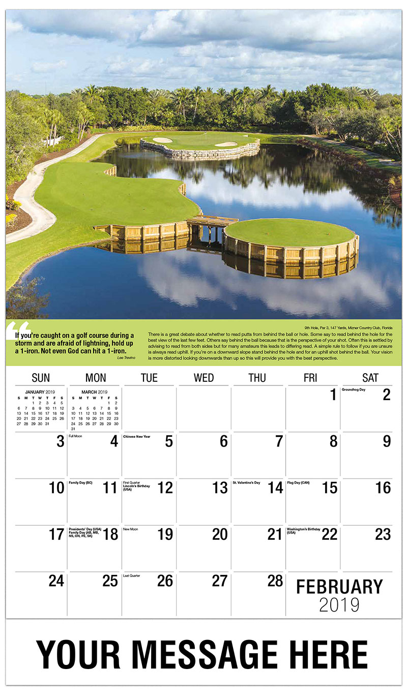 2019 Promo Calendar - 9th Hole, Par 3, 147 Yards, Mizner Country Club, Florida : 9th Hole, Par 3, 147 Yards, Mizner Country Club, Florida - February