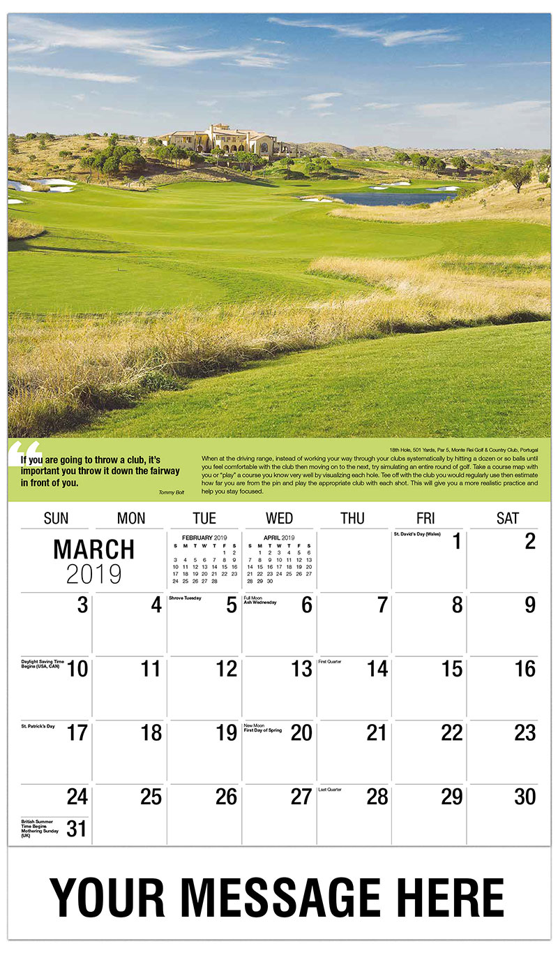 2019 Promotional Calendar - 18th Hole, 501 Yards, Par 5, Monte Rei Golf & Country Club, Portugal : 18th Hole, 501 Yards, Par 5, Monte Rei Golf & Country Club, Portugal - March