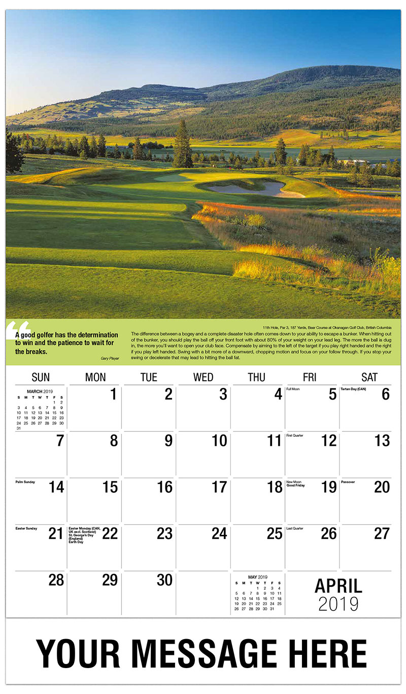 2019 Promotional Calendar - 11th Hole, Par 3, 187 Yards, Bear Course at Okanagan Golf Club : 11th Hole, Par 3, 187 Yards, Bear Course at Okanagan Golf Club - April