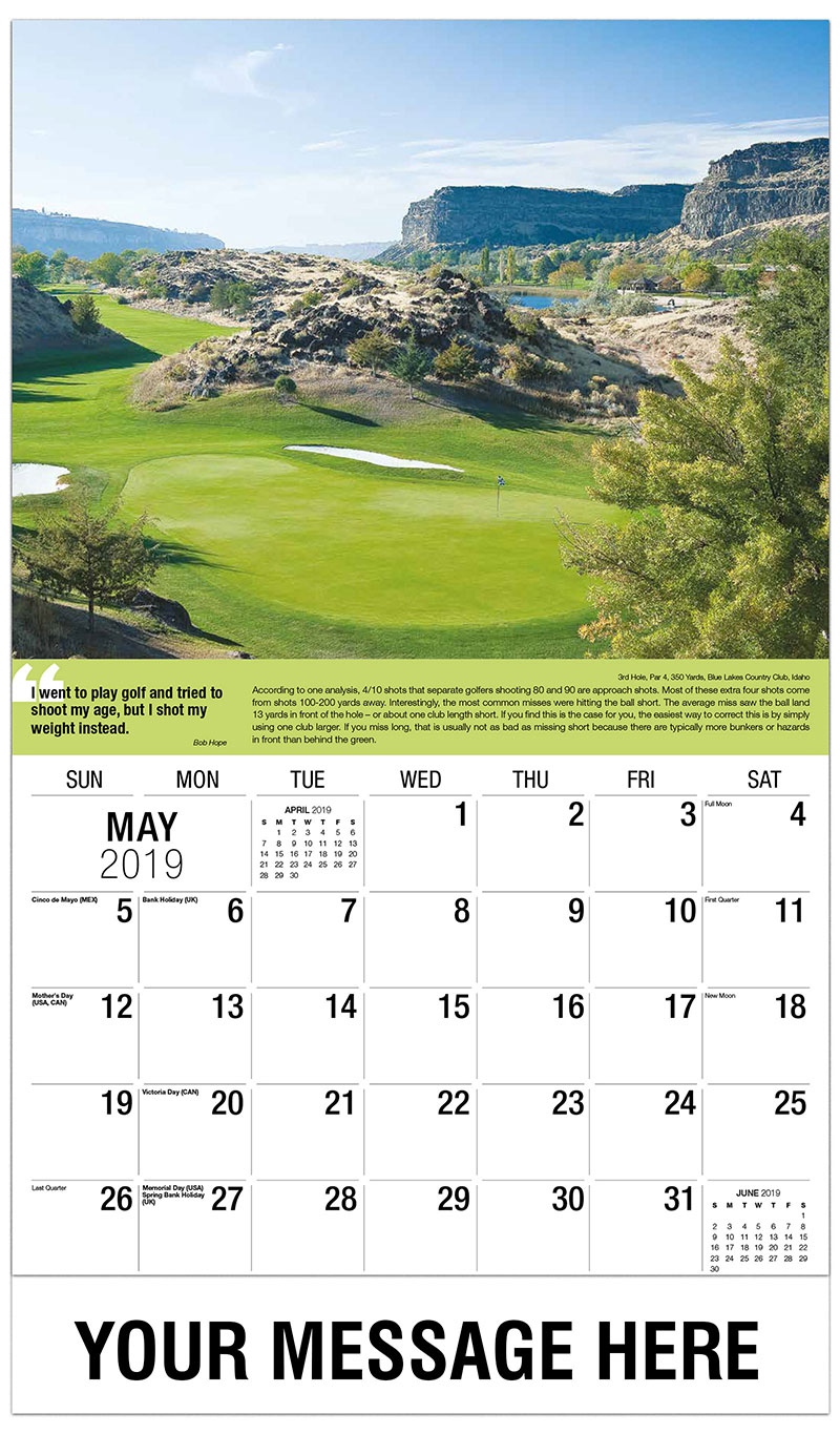 2019 Promotional Calendar - 3rd Hole, Par 4, 350 Yards, Blue Lakes Country Club, Idaho : 3rd Hole, Par 4, 350 Yards, Blue Lakes Country Club, Idaho - May