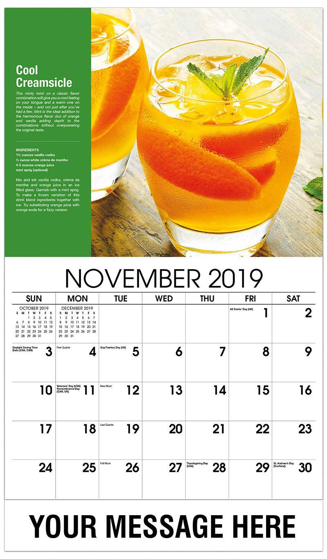 2019 Advertising Calendar - Cool Creamsicle - November