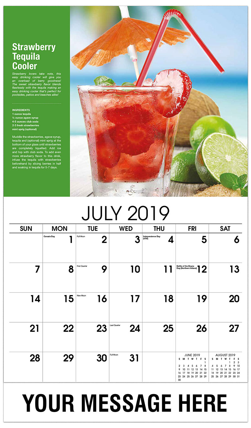 2019 Business Advertising Calendar - Strawberry-Tequila Cooler - July