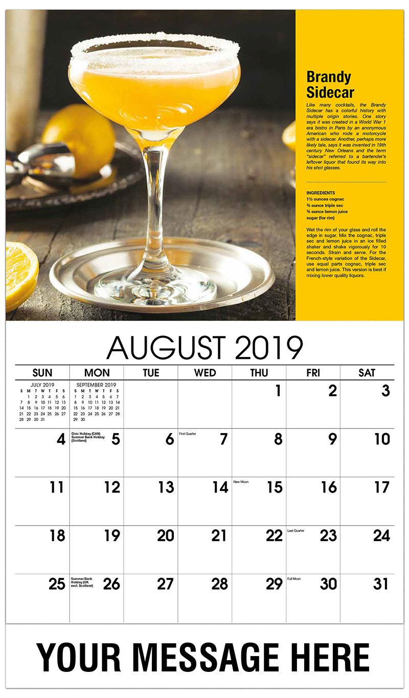2019 Business Advertising Calendar - Brandy Sidecar - August