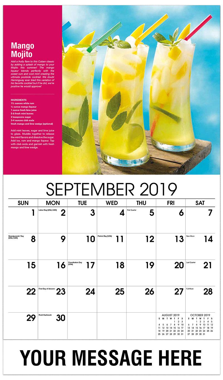 2019 Business Advertising Calendar - Mango Mojito - September