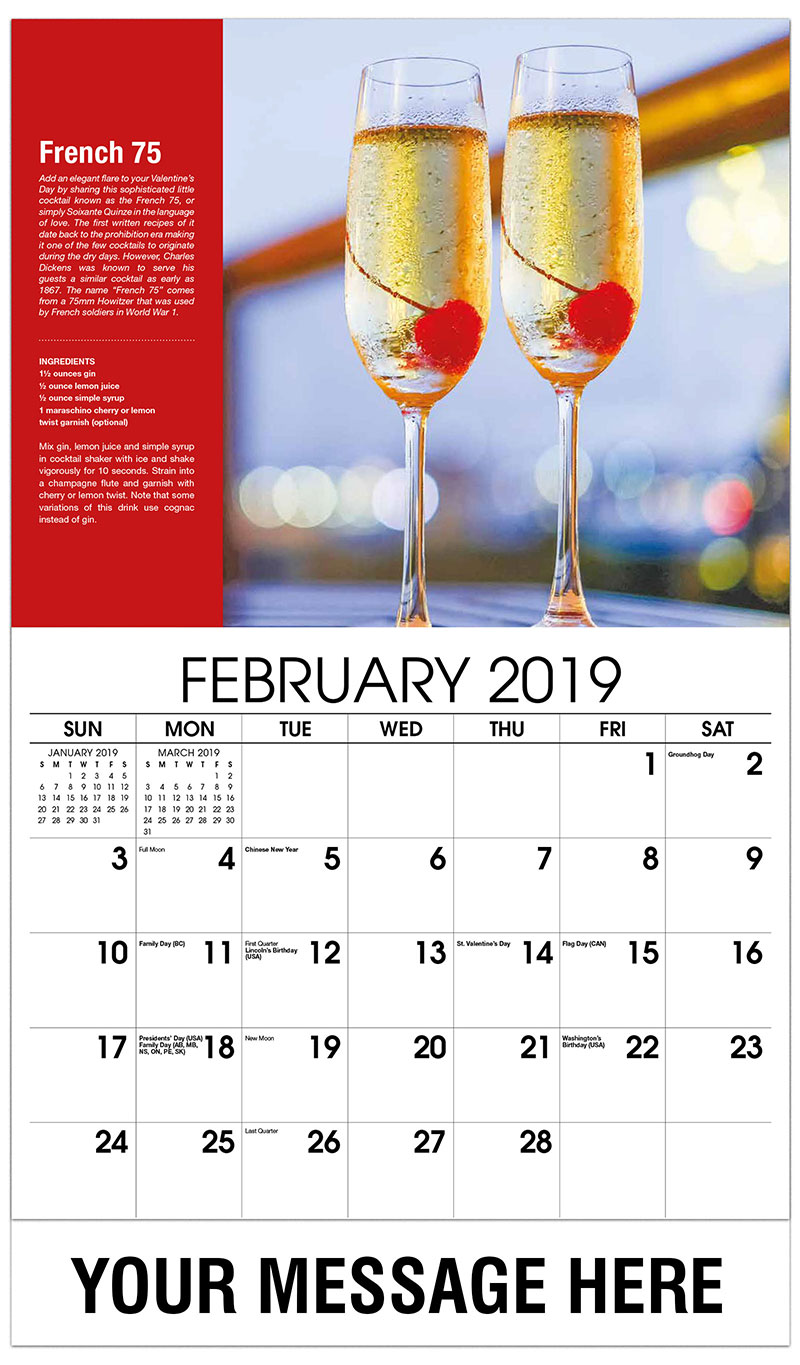 2019 Promotional Calendar - French 75 - February