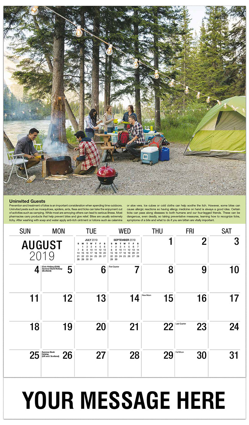 2019 Business Advertising Calendar - Campers - August